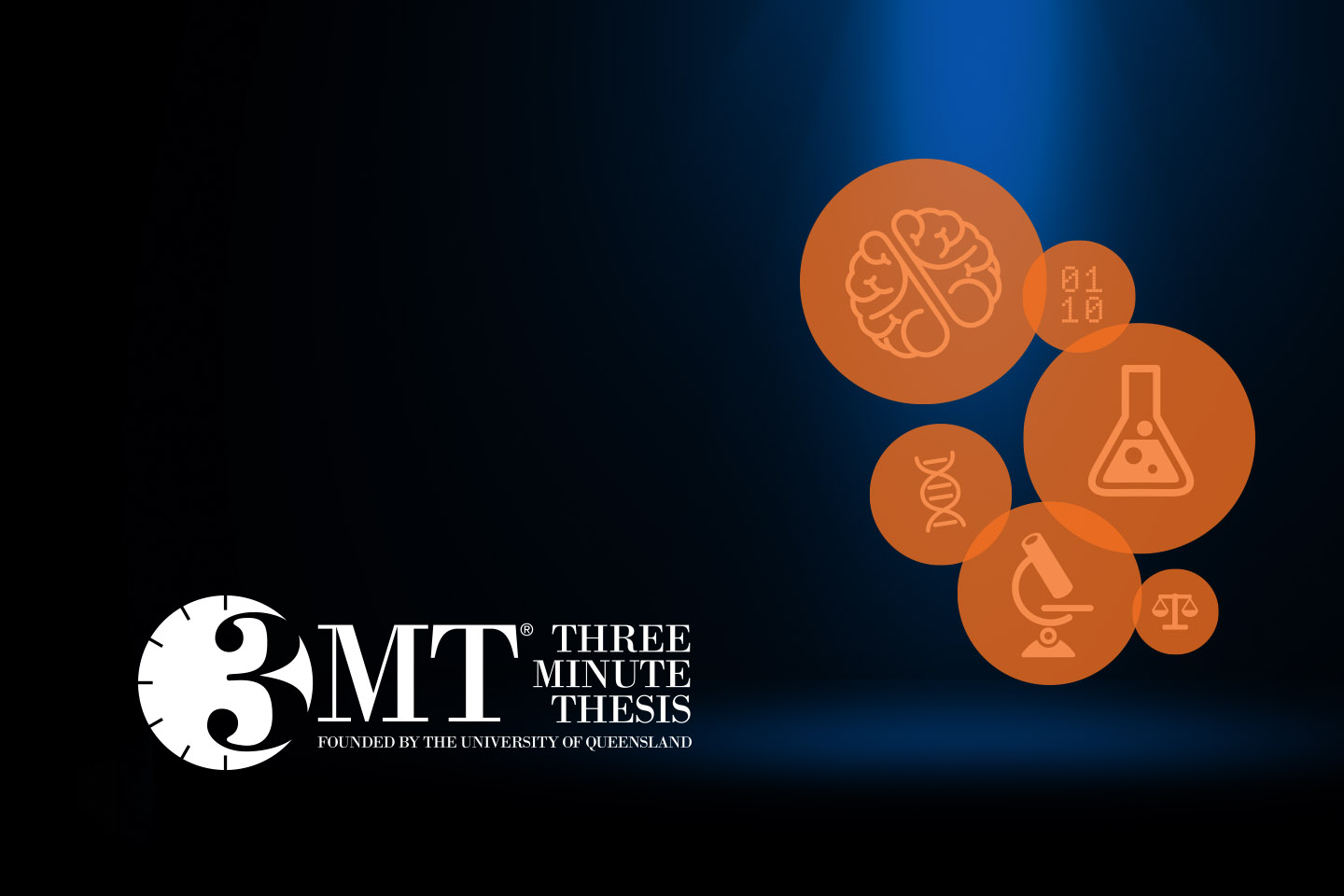 Three Minute Thesis logo with spotlight